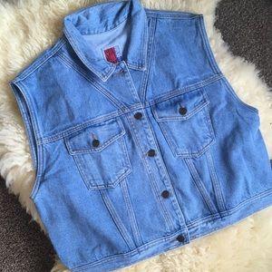 VTG Denim Vest Vintage Boxy Oversized Jean Vest